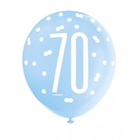 "Blue/Silver Glitz 12"" Age 70 Latex Balloons 6ct"