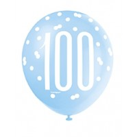 "Blue/Silver Glitz 12"" Age 100 Latex Balloons 6ct"