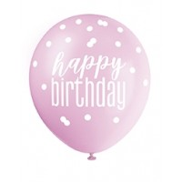 "Pink/Silver Glitz 12"" Happy Birthday Latex Balloons 6ct"