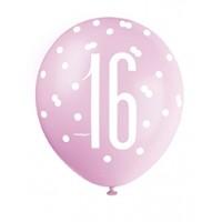 "Pink/Silver Glitz 12"" Age 16 Latex Balloons 6ct"