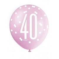 "Pink/Silver Glitz 12"" Age 40 Latex Balloons 6ct"