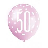 "Pink/Silver Glitz 12"" Age 50 Latex Balloons 6ct"