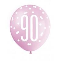 "Pink/Silver Glitz 12"" Age 90 Latex Balloons 6ct"