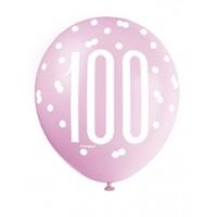 "Pink/Silver Glitz 12"" Age 100 Latex Balloons 6ct"