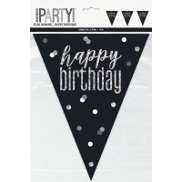 Black/Silver Glitz Happy Birthday Prism Flag Banner 9ft