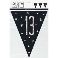 Black/Silver Glitz Age 13 Prism Flag Banner 9ft