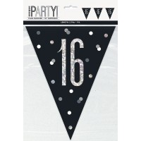 Black/Silver Glitz Age 16 Prism Flag Banner 9ft