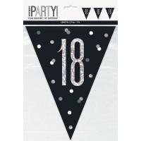 Black/Silver Glitz Age 18 Prism Flag Banner 9ft