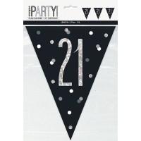 Black/Silver Glitz Age 21 Prism Flag Banner 9ft
