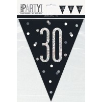 Black/Silver Glitz Age 30 Prism Flag Banner 9ft