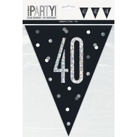 Black/Silver Glitz Age 40 Prism Flag Banner 9ft