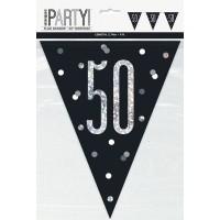 Black/Silver Glitz Age 50 Prism Flag Banner 9ft