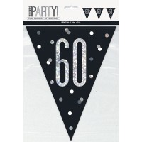 Black/Silver Glitz Age 60 Prism Flag Banner 9ft