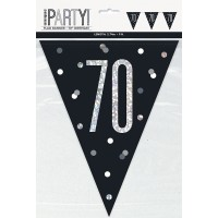 Black/Silver Glitz Age 70 Prism Flag Banner 9ft