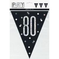 Black/Silver Glitz Age 80 Prism Flag Banner 9ft