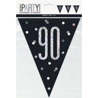 Black/Silver Glitz Age 90 Prism Flag Banner 9ft