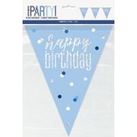 Blue/Silver Glitz Foil Prism Happy Birthday Flag Banner 9FT