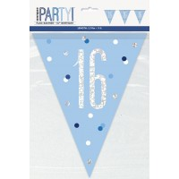 Blue/Silver Glitz Foil Prism Age 16 Flag Banner 9FT