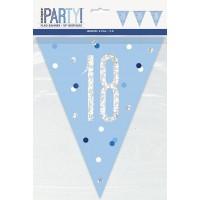Blue/Silver Glitz Foil Prism Age 18 Flag Banner 9FT