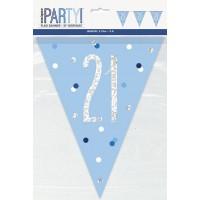 Blue/Silver Glitz Foil Prism Age 21 Flag Banner 9FT