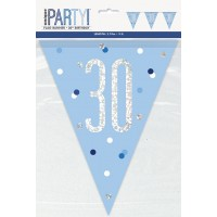 Blue/Silver Glitz Foil Prism Age 30 Flag Banner 9FT
