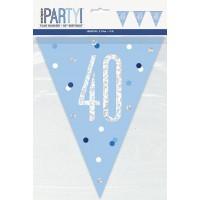 Blue/Silver Glitz Foil Prism Age 40 Flag Banner 9FT