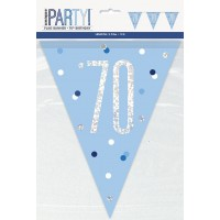 Blue/Silver Glitz Foil Prism Age 70 Flag Banner 9FT