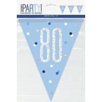 Blue/Silver Glitz Foil Prism Age 80 Flag Banner 9FT