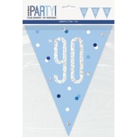 Blue/Silver Glitz Foil Prism Age 90 Flag Banner 9FT