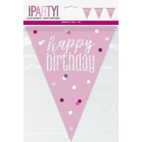 Pink/Silver Glitz Foil Prism Happy Birthday Flag Banner 9FT