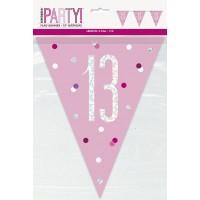 Pink/Silver Glitz Foil Prism Age 13 Flag Banner 9FT
