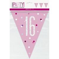 Pink/Silver Glitz Foil Prism Age 16 Flag Banner 9FT