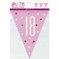 Pink/Silver Glitz Foil Prism Age 18 Flag Banner 9FT