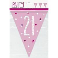 Pink/Silver Glitz Foil Prism Age 21 Flag Banner 9FT
