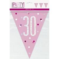 Pink/Silver Glitz Foil Prism Age 30 Flag Banner 9FT