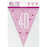 Pink/Silver Glitz Foil Prism Age 40 Flag Banner 9FT