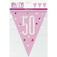 Pink/Silver Glitz Foil Prism Age 50 Flag Banner 9FT
