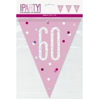 Pink/Silver Glitz Foil Prism Age 60 Flag Banner 9FT
