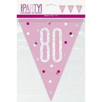 Pink/Silver Glitz Foil Prism Age 80 Flag Banner 9FT