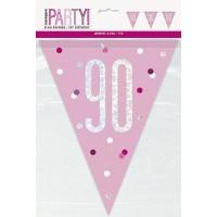 Pink/Silver Glitz Foil Prism Age 90 Flag Banner 9FT