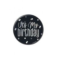 "Black/Silver Glitz Foil It's My Birthday Badge 3"" 1CT"
