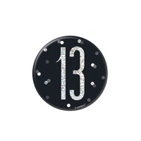 "Black/Silver Glitz Foil Age 13 Badge 3"" 1CT"