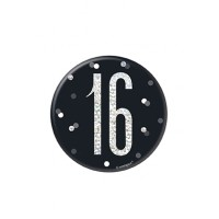 "Black/Silver Glitz Foil Age 16 Badge 3"" 1CT"
