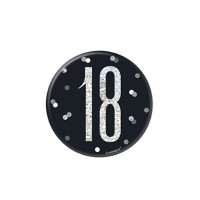 "Black/Silver Glitz Foil Age 18 Badge 3"" 1CT"