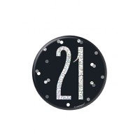 "Black/Silver Glitz Foil Age 21 Badge 3"" 1CT"