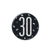 "Black/Silver Glitz Foil Age 30 Badge 3"" 1CT"