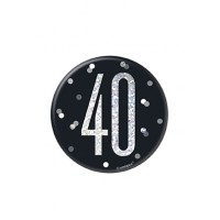 "Black/Silver Glitz Foil Age 40 Badge 3"" 1CT"