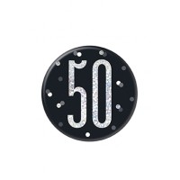 "Black/Silver Glitz Foil Age 50 Badge 3"" 1CT"