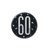 "Black/Silver Glitz Foil Age 60 Badge 3"" 1CT"