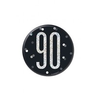 "Black/Silver Glitz Foil Age 90 Badge 3"" 1CT"